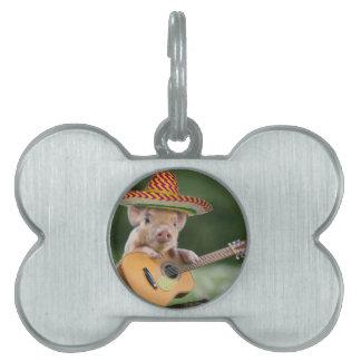 mexican pig - pig guitar - funny pig pet tag