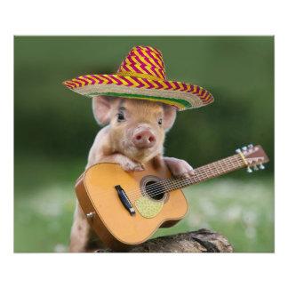 mexican pig - pig guitar - funny pig photo print