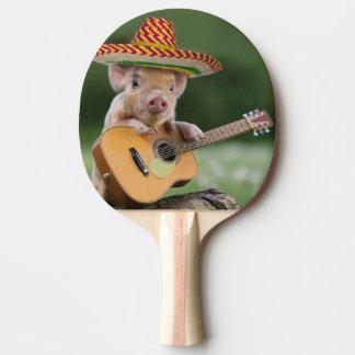 mexican pig - pig guitar - funny pig ping pong paddle