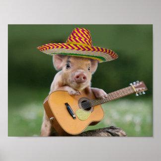 mexican pig - pig guitar - funny pig poster