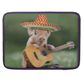 mexican pig - pig guitar - funny pig sleeve for MacBook pro