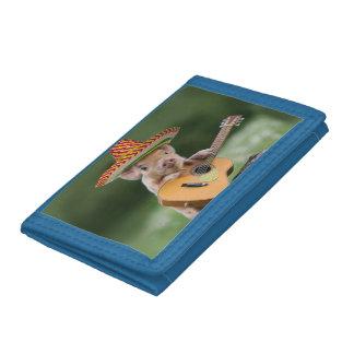 mexican pig - pig guitar - funny pig tri-fold wallet