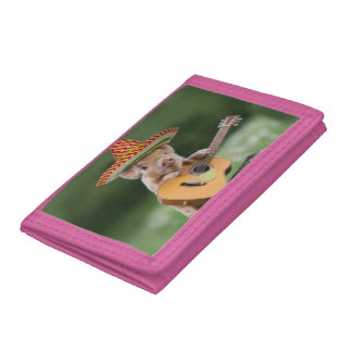 mexican pig - pig guitar - funny pig tri-fold wallets