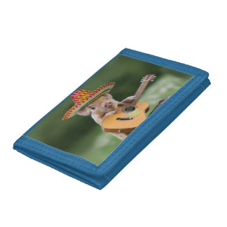 mexican pig - pig guitar - funny pig trifold wallets