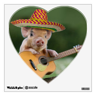 mexican pig - pig guitar - funny pig wall decal