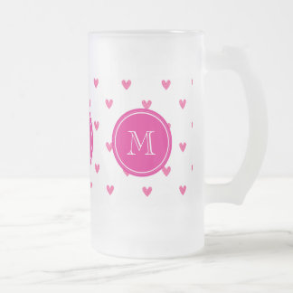 Mexican Pink Glitter Hearts with Monogram Beer Mugs
