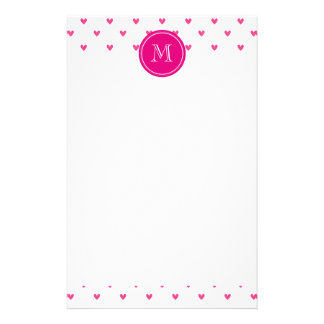 Mexican Pink Glitter Hearts with Monogram Stationery Design