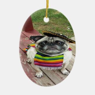 Mexican Pug Ceramic Oval Ornament
