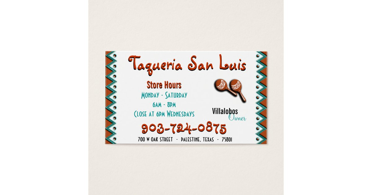 Mexican restaurant business card zazzleca for Mexican restaurant business cards