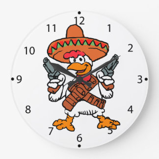 Mexican rooster large clock