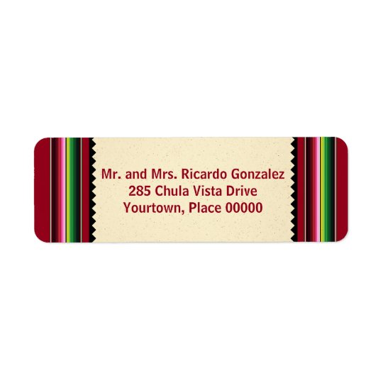 Mexican Serape Return Address Return Address Label