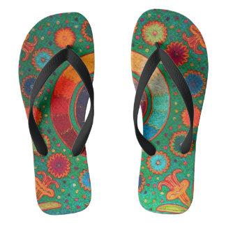 Mexican Shaman Huichol Serpent Flip Flops