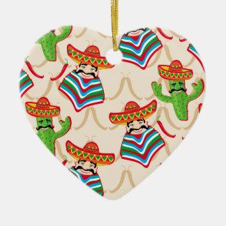 Mexican siesta ceramic heart ornament