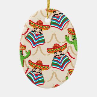 Mexican siesta ceramic oval ornament
