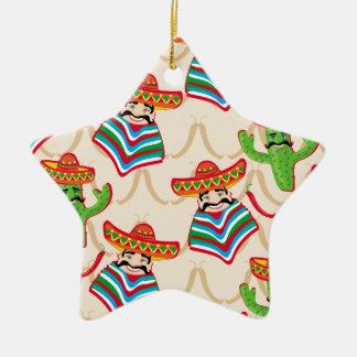 Mexican siesta ceramic star ornament