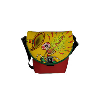 Mexican Skeleton Burping Hot Chili Peppers Messenger Bag