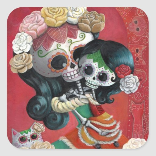 Mexican Skeleton Mother and Daughter Sticker