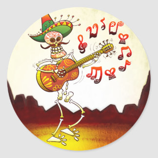 Mexican Skeleton Playing Guitar Round Sticker