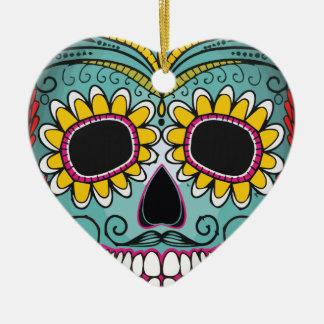 Mexican Skull Ceramic Heart Ornament