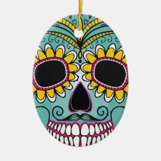 Mexican Skull Ceramic Oval Ornament