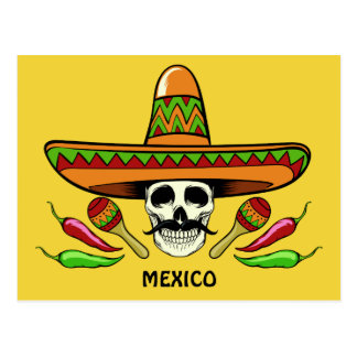 Mexican Skull custom text & color postcard