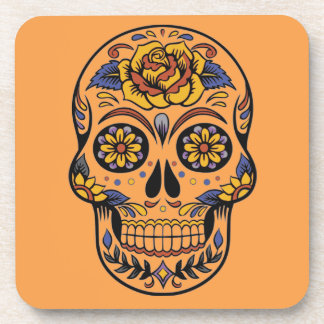 Mexican skull day of the dead drink coaster
