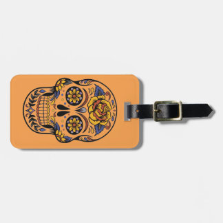 Mexican skull day of the dead luggage tag