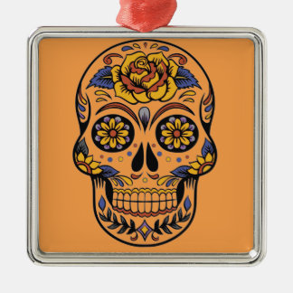 Mexican skull day of the dead Silver-Colored square ornament