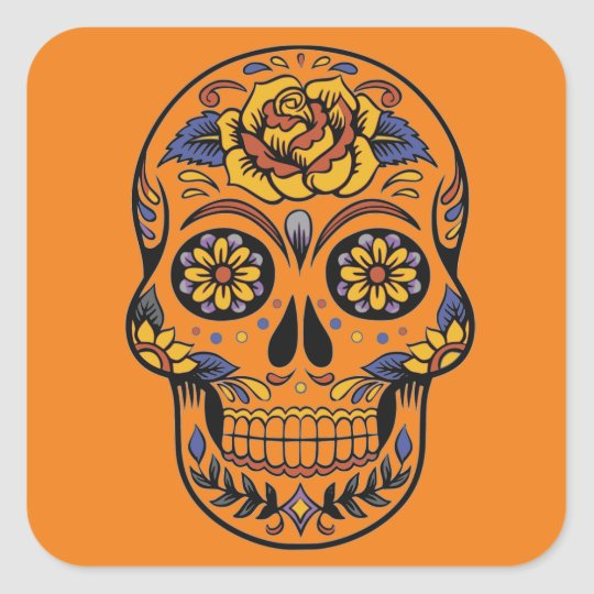 Mexican skull day of the dead square sticker