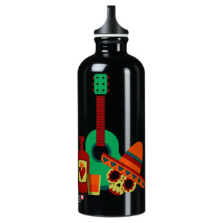 Mexican Skull head musical party design Water Bottle