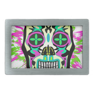 Mexican Skull Rectangular Belt Buckle