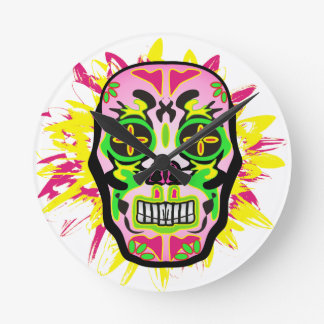 Mexican Skull Round Clock