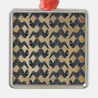 Mexican Snake Silver-Colored Square Ornament