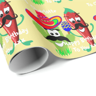 Mexican Sombrero Cactus Chilli Pepper Fiesta Fun Wrapping Paper