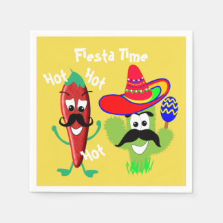 Mexican Sombrero Cactus Chilli Pepper Fiesta Party Disposable Napkins
