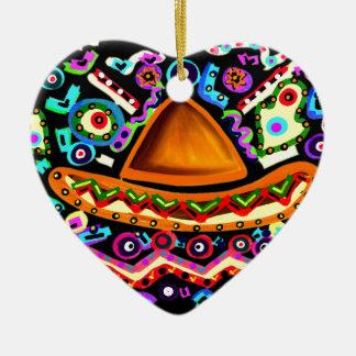 Mexican Sombrero Ceramic Heart Ornament