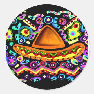 Mexican Sombrero Classic Round Sticker