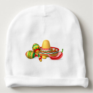 Mexican Sombrero Maracas and Chilli Pepper Baby Beanie