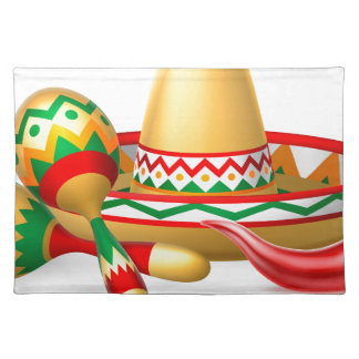 Mexican Sombrero Maracas and Chilli Pepper Placemat