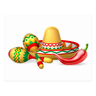 Mexican Sombrero Maracas and Chilli Pepper Postcard
