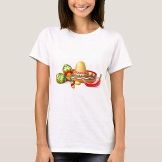 Mexican Sombrero Maracas and Chilli Pepper T-Shirt