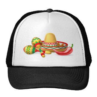 Mexican Sombrero Maracas and Chilli Pepper Trucker Hat