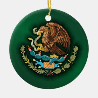 Mexican Steel 2 (green) Round Ceramic Ornament
