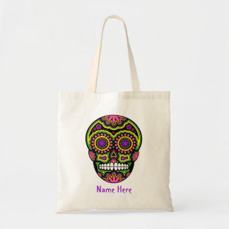 Mexican Sugar Skull Day Of The Dead Your Name Tote Bag