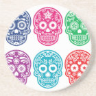 Mexican Sugar Skull, Dia De Los Muertos Colourful Coaster