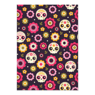 Mexican Sugar Skull Floral Pattern Card