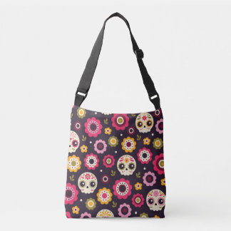 Mexican Sugar Skull Floral Pattern Crossbody Bag