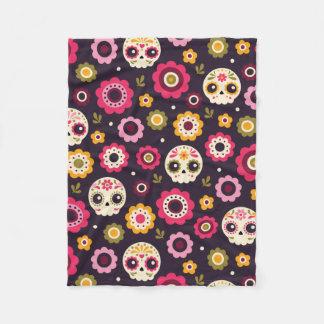 Mexican Sugar Skull Floral Pattern Fleece Blanket