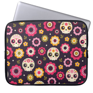 Mexican Sugar Skull Floral Pattern Laptop Sleeve