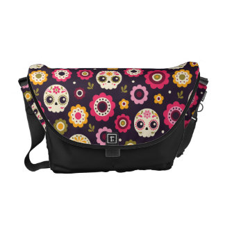 Mexican Sugar Skull Floral Pattern Messenger Bag